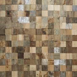 Zoom panneaux muraux type mosaïque en chêne blanchi, noirci et naturel
