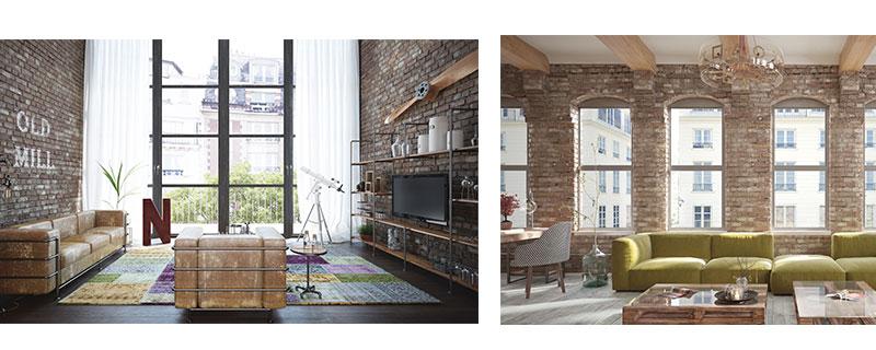 interieur style atelier et loft industriel avec parquet